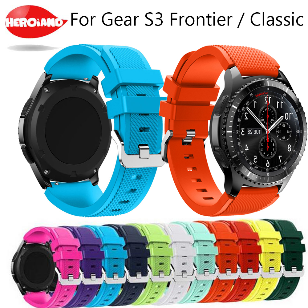 Silicone Watchband for Samsung Gear S3 Classic Frontier 22mm Silica gel Watch Band S 3 sport wrist Strap Replacement Bracelet aoow 22mm watchband for samsung gear s3 classic frontier sport style replacement bracelet band strap for gear s3 camo silicone