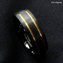 8mm Brushed Dome Black Tungsten Ring Gold inlay wedding band mens jewelry Free Shipping