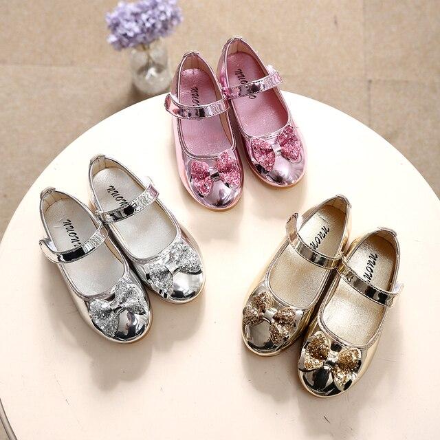 Весна Осень Дети Девушки кожа Лук обувь мода Яркий алмаз обувь одного золота серебряный розовый Дети девушки детские танцевальные туфли