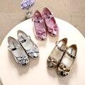 Primavera outono crianças meninas de couro arco shoes moda brilhante diamante único shoes ouro prata rosa crianças meninas baby dance shoes