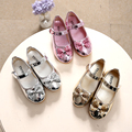 Spring Autumn Children Girls leather Bow shoes fashion Bright diamond single shoes gold silver pink Kids girls baby dance shoes