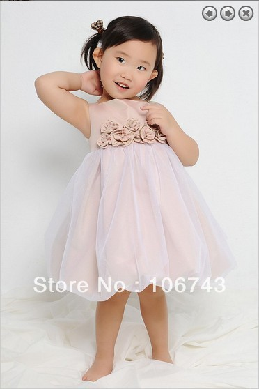 free shipping 2016 hot Beautiful Sleeveless   flower     girl     dress   for wedding kids princess   dress   size for   girls   knee-length