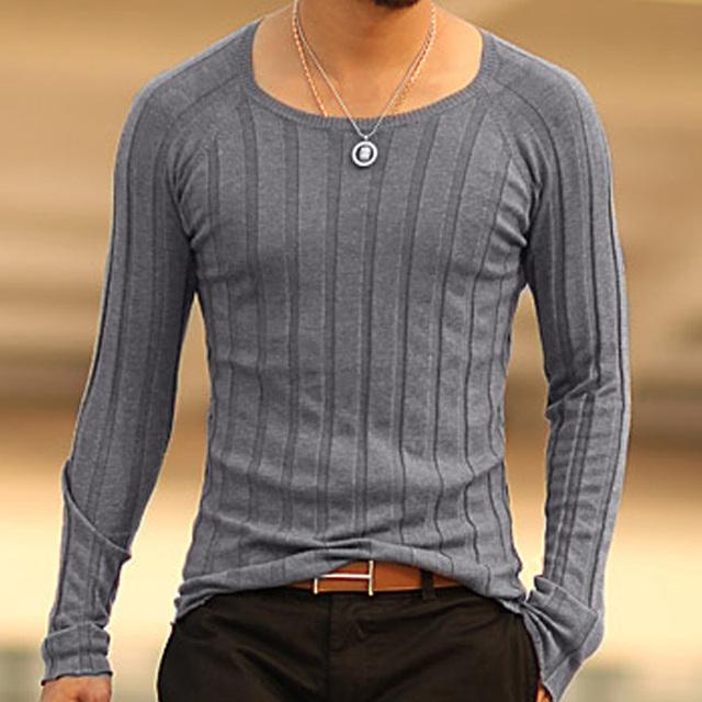 Mens natal Pulôver tops Casuais camisas de manga longa Marca Outono O-pescoço assentamento camisola Homens malhas de Algodão Blusas