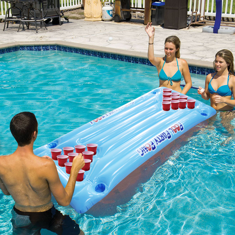 New Hot Summer Water Party Fun Air Mattress Ice Bucket Cooler 145cm 24 Cup Holder PVC Inflatable Beer Pong Table Pool Float