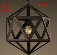 Nieuwe 2017 Nordico Rustieke Hanglampen Amerikaanse Vintage Loft Kooi Edison Opknoping Lamp Ijzer Lampenkap Decor Veelvlak Armaturen