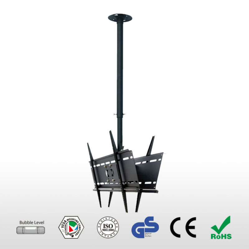 High Quality 23 65 Dual Screen LCD LED TV Ceiling Mount 360 Degree Rotation Double LCD