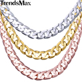 Trendsmax CUSTOMIZED ANY Length 5mm Mens Chain Womens Girls Boys Cut Flat Curb Link Gold Filled Necklace Wholesale GNM89