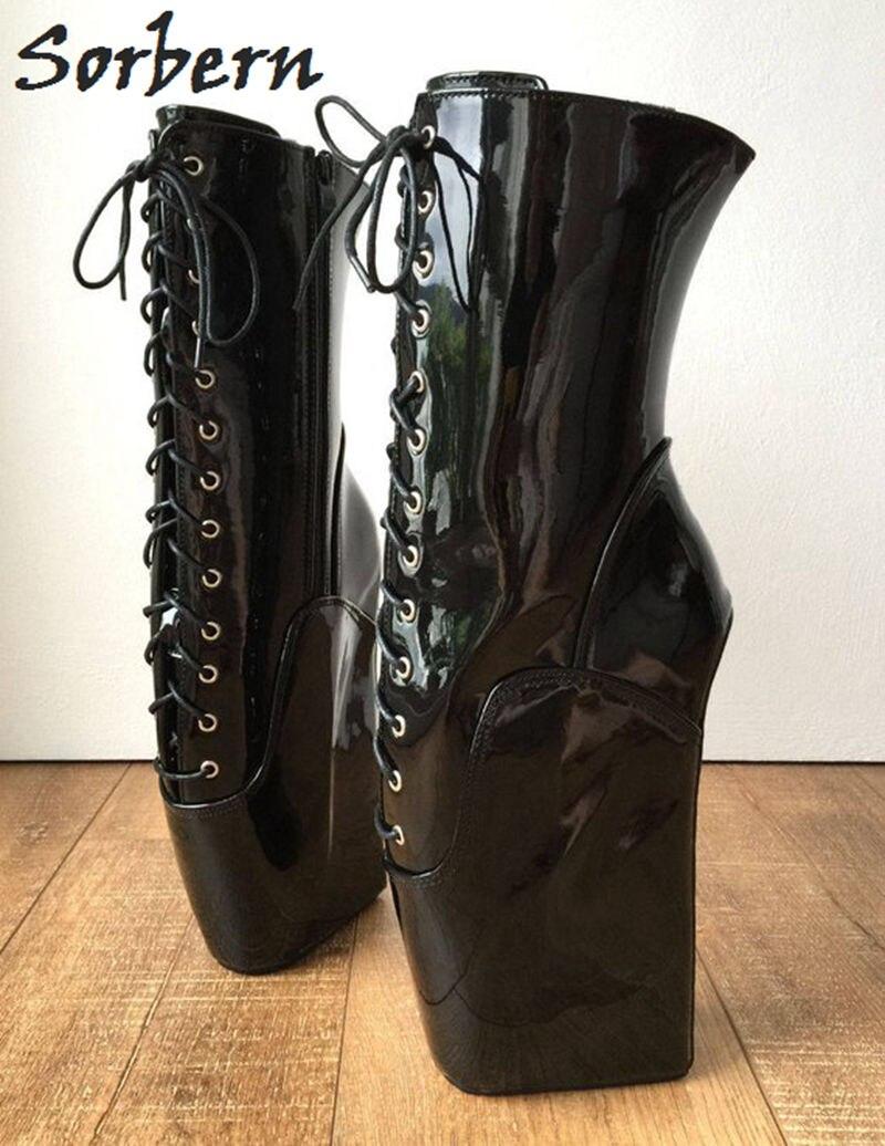 Sorbern black shiny ballet wedge 하이힐 부츠 여성 빅 사이즈 45 wide fit calf boots tall pull up 부츠 디자이너 신발 여성-에서앵클 부츠부터 신발 의  그룹 2