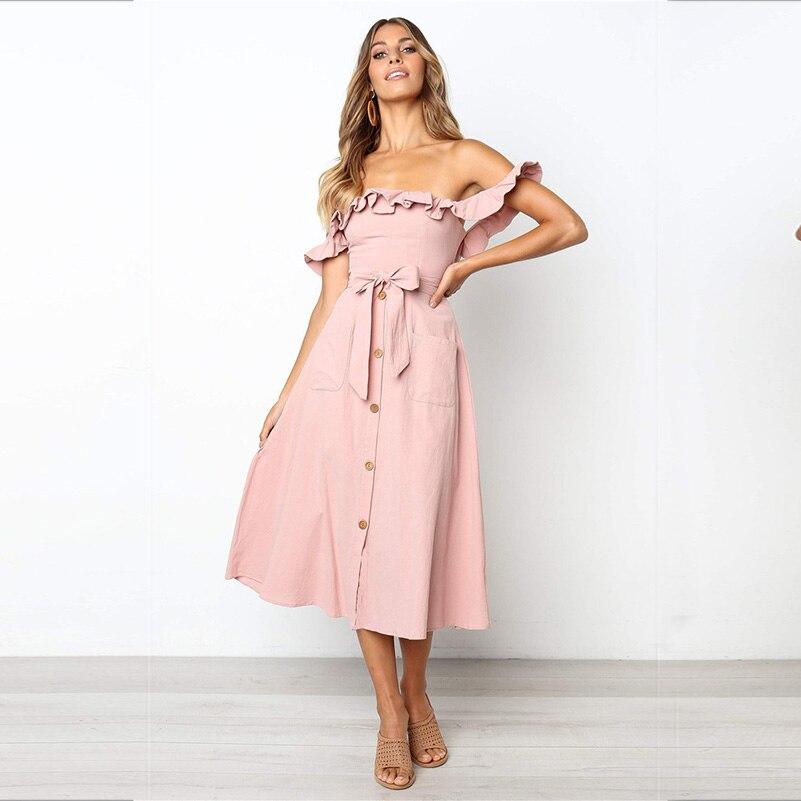 yinlinhe Pink Slash Neck Long Party Dress Women Slim Elegant Off Shoulder Summer Dress Bow Knot Short Sleeve Ruffles Vestido 889