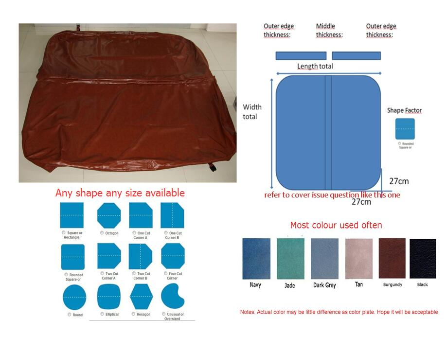 2150mmX2150mm hot tub spa cover leather skin , can do any other size other spa