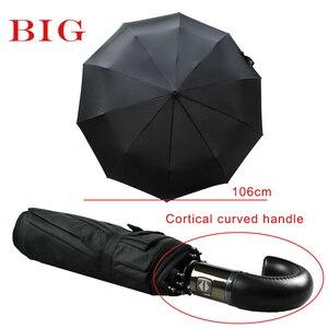 Image 2 - Мужской кожаный Зонт с изогнутой ручкой, Автоматический ветрозащитный черный большой зонт от дождя