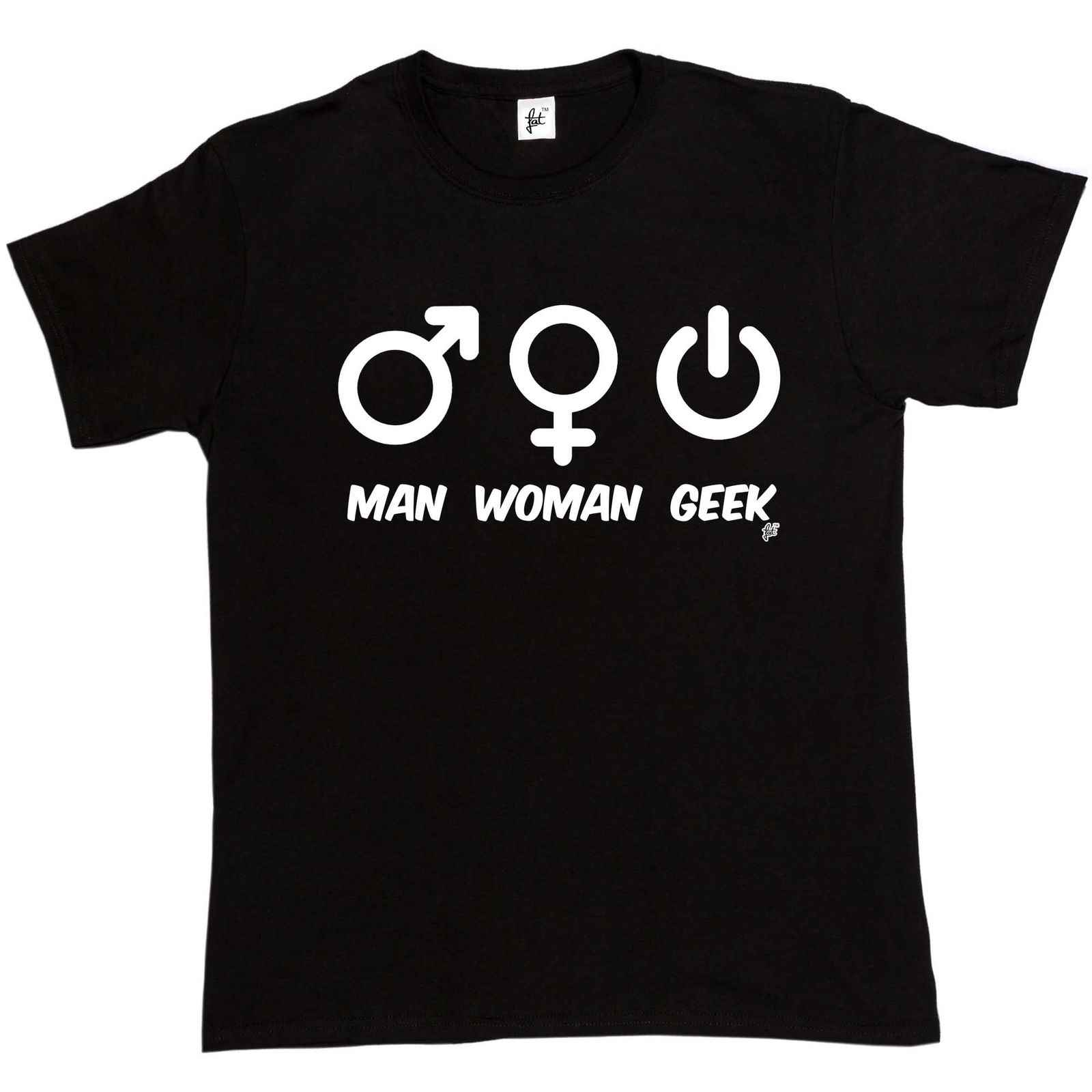 Мужская женщина Geek секс Символ Кнопка питания Мужская футболка