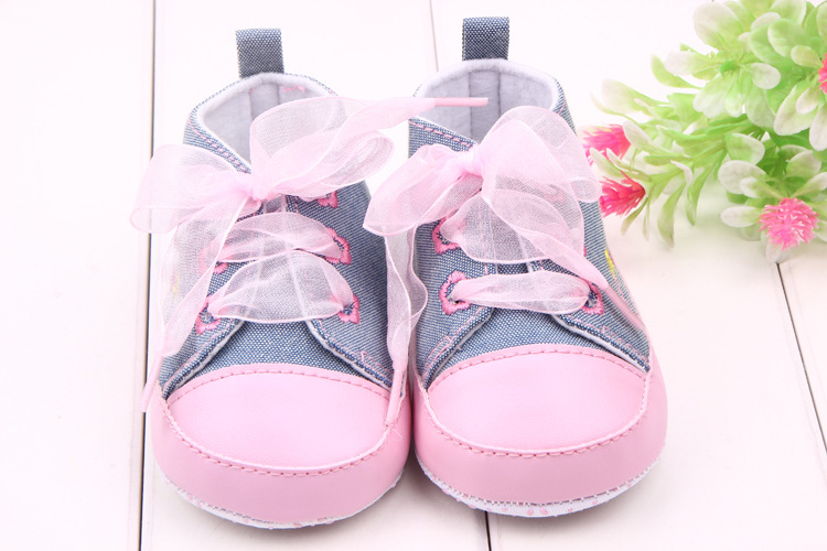 Fashion Infant Baby Girls Soft Sole Prewalker Crib First Walkers Sneakers Skid-proof 0-12 Months Princess Soft Sole Shoes