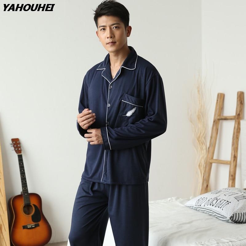 2019 Autumn Winter Cotton Pajamas Sets For Men Long Sleeve Pyjama Male Lounge Cardigan Sleepwear Homewear Clothes Pijama Hombre