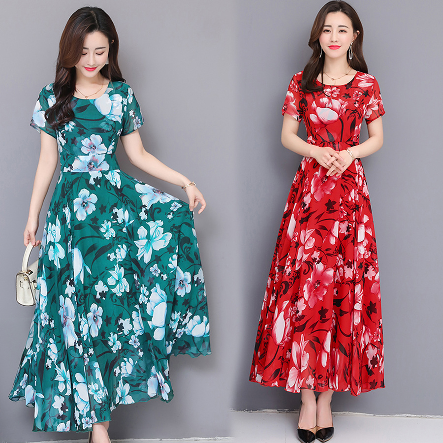 2019 Korean Vintage Print Chiffon Boho Midi Dress Summer 3XL Plus Size Beach Maxi Sundress Elegant Bodycon Women Party Vestidos in Dresses from Women 39 s Clothing