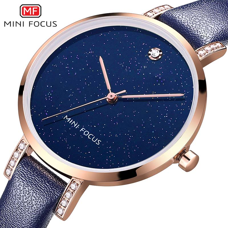 MINI FOCUS Diamanten Blauw Lederen Dames Horloges Dames Merk Luxe - Dameshorloges