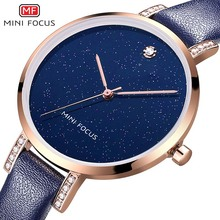 MINI FOCUS Diamonds Blue Leather Women Watches Ladies Brand Luxury Female Quartz Watch Wristwatch Girl Clock Montre Femme