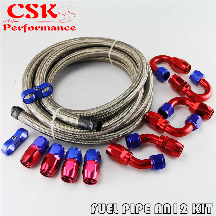 AN6-6AN Stainless Steel Braided Oil Fuel Line Fitting Hose End Adaptor Kit 5 M