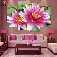 4 Panel Wall Art Foto Botanische Rode Feng Shui roze lotus olie Effect Schilderen Op Canvas De Foto Voor Woonkamer Decora