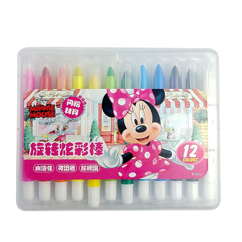 Cartoon Mickey Mouse 12 Colors Rotating Colorful Stick Water-color Pens Disney Minnie Art Supplies Crayons For Kids Painting Set
