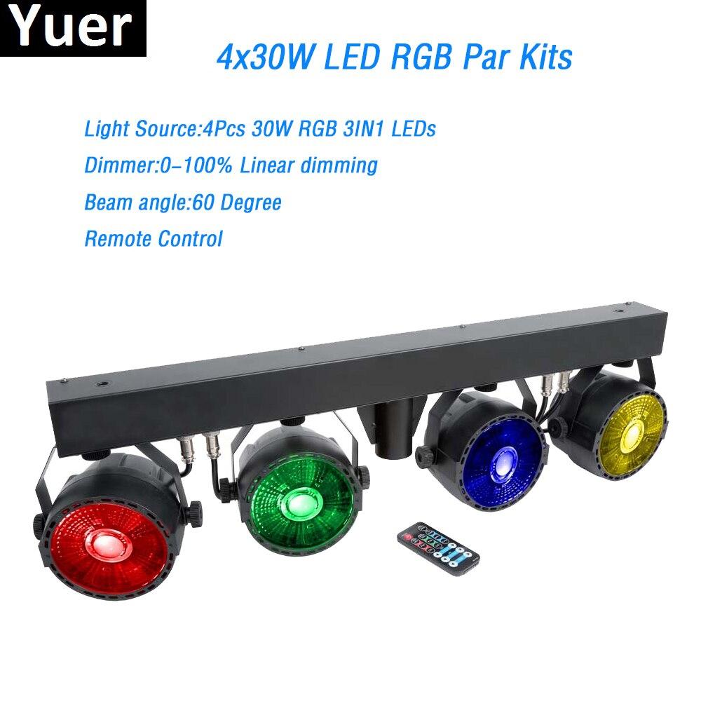 Hot Sale LED Par Kits 4PcsX30W RGB Full Color DMX512 Remote Control 7DMX Channl With Light