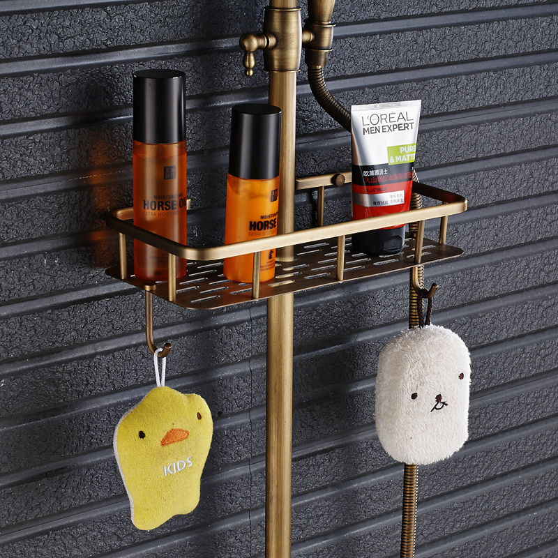"""Image 5 - Antique Brass Shower Faucet Mixers Dual Handle Rainfall 8"""" Brass Shower Head with Bath Storage Shelf and Hooks Shower Water Tap-in Shower Faucets from Home Improvement"""