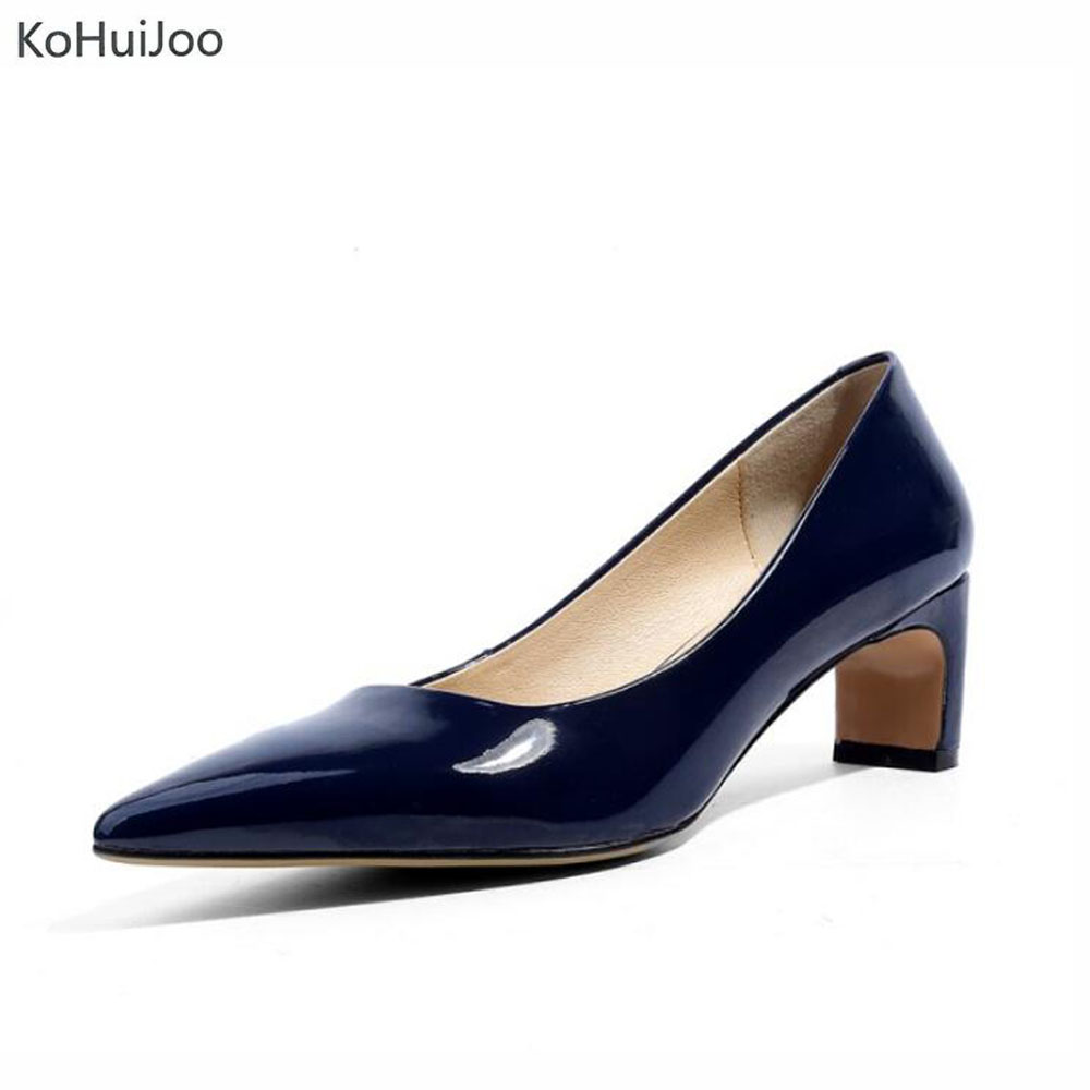 KoHuiJoo 2018 Spring Women Patent Leather High Heels Comfortable Elegant Pumps Lady Office Work  Shoes Solid Strange Style Shoes fashion women s pumps with strange heels and patent leather design