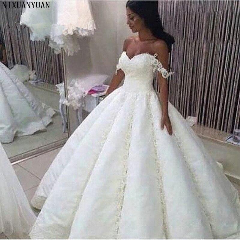 2020 Robe De Mariage Saudi Arabia Graceful Beading Wedding Dress Sweetheart Appliques Ball Gown Wedding Dresses Vestido De Noiva