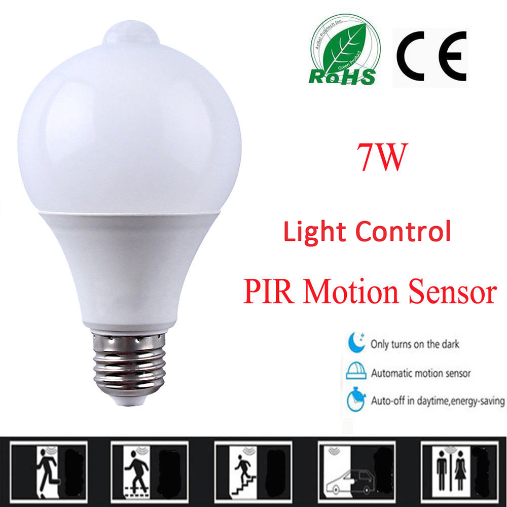 10PCS PIR Motion Sensor LED Lamp+Light Control LED Bulb Auto Infrared Sensor LED Energy Saving Bulbs for Stairs Lighting E27 smart bulb e27 7w led bulb energy saving lamp color changeable smart bulb led lighting for iphone android home bedroom lighitng