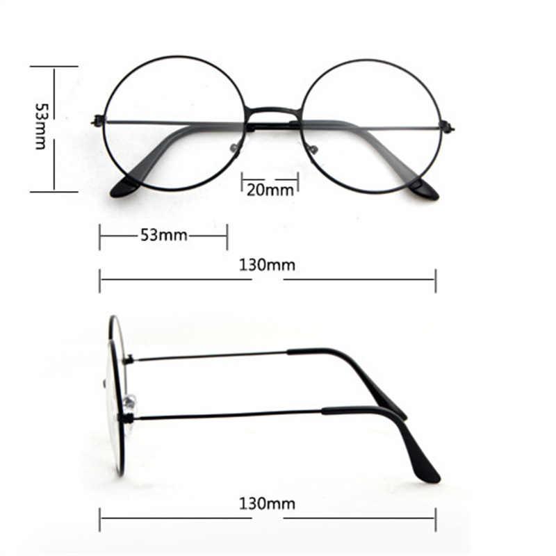 Nova mulher retro grande redondo transparente lente óculos de metal preto prata ouro óculos de armação óptica óculos