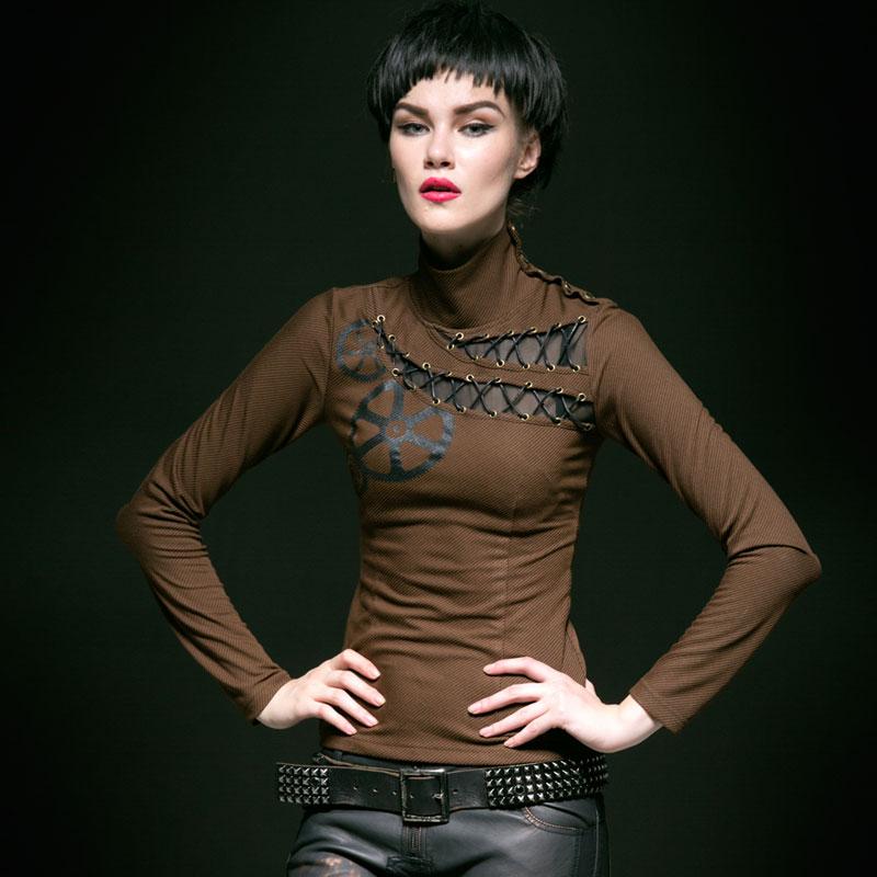 PUNK RAVE Steampunk Tempérament Bande Vitesse D'impression Plaid Col Roulé En Tricot Femelle Chemise d'été T-shirt femmes T-362