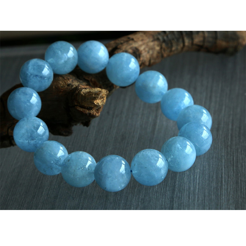 Free shipping Wholesale Natural Genuine Blue Aquamarine Stretch Bracelet Round Big Beads 14mm Beryl Bracelets Fit Jewelry 02774