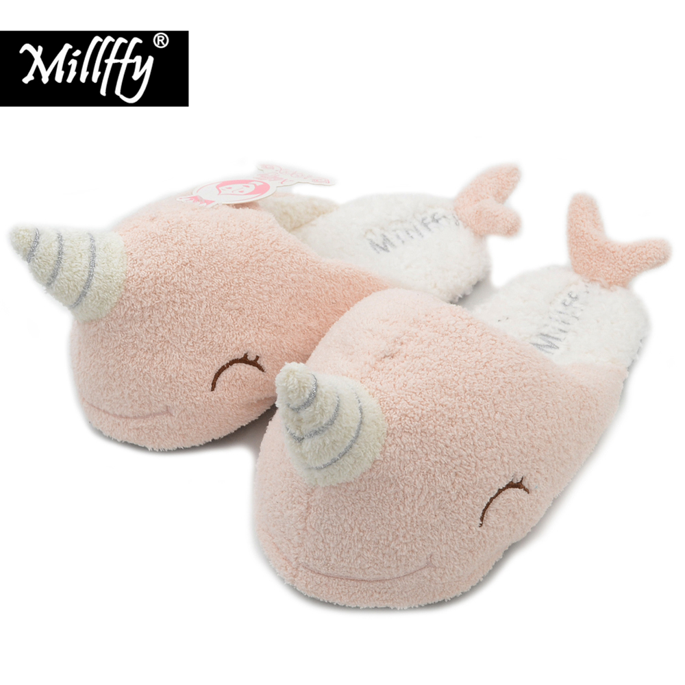 Millffy new adorable narwhal super soft cotton slipper plush slippers warm winter fimingo indoor female cotton unicorn slippers super slipper taipei