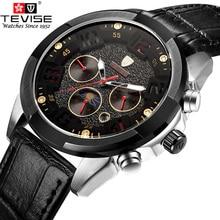 Clásico Simple Moda Reloj Mecánico Hombres TEVISE Marca de Cuero Casual Reloj Reloj Sport 2017 Relojes hombre Nuevo