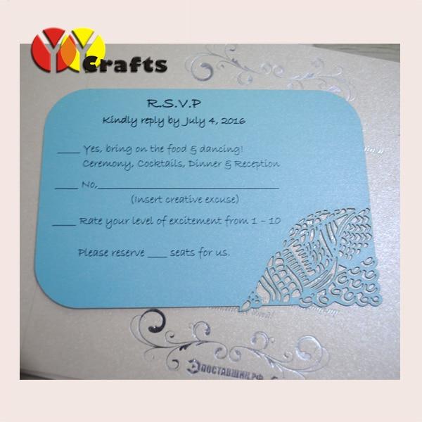 Blue beach wedding invitation card cheap matching rsvp card with
