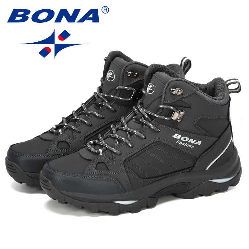 BONA erkek botları Anti-Skidding deri ayakkabı erkekler için popüler rahat bahar sonbahar erkek ayakkabısı kısa peluş kar botları dayanıklı taban