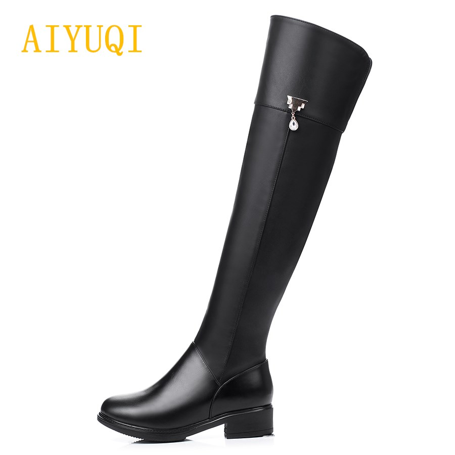 AIYUQI 2019 new winter 100 Natural genuine leather women 39 s rubber boots warm knee high boots big size 41 42 motorcycle boots in Over the Knee Boots from Shoes