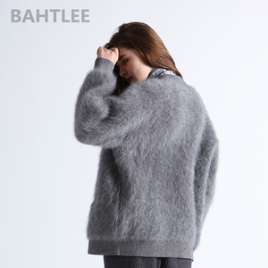 Image 4 - BAHTLEE Winter womens Angora cardigans Sweater knitted Mink cashmere V Neck Button Pocket Very Thick Keep Warm