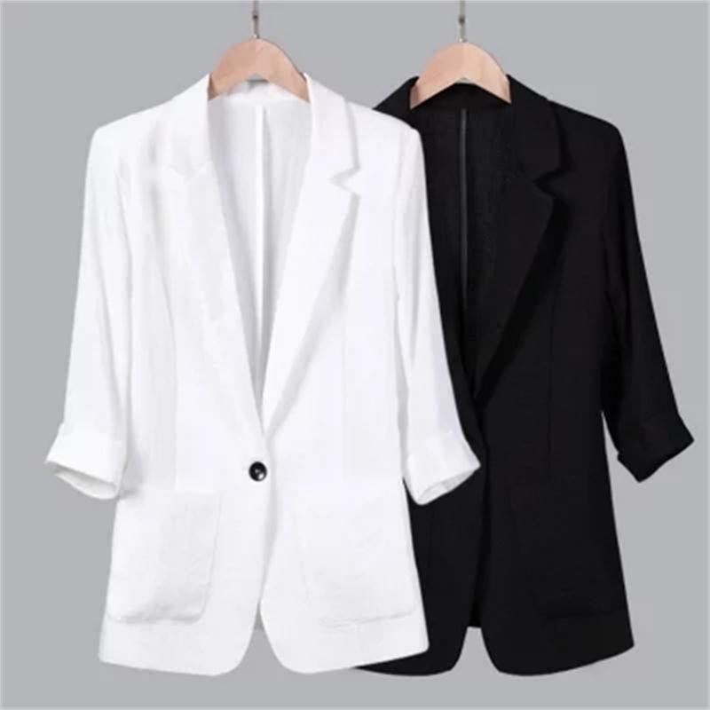 Women Blazers NEW Summer cotton linen suit leisure seven sleeve thin linen small suit jacket female Plus Size 5XL Work Wear