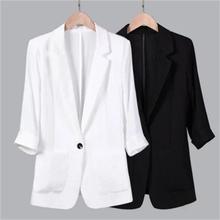 Женские блейзеры новый летний хлопковый льняной костюм для отдыха семь рукав Тонкий льняной маленький костюм куртка женская плюс размер 5XL Рабочая одежда