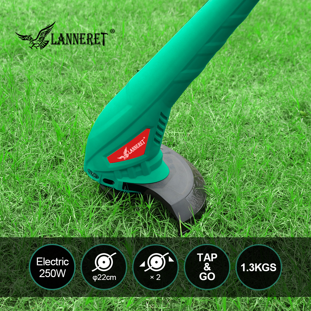 Electric Grass Trimmer LANNERET 250W 220mm AC Hand Cleaner Grass Cutter Machine Line Trimmer For Brake Disassembly Garden Tools