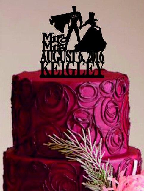 Acrylic Superman And Girls Custom Name Birthday Cake Toppers Wedding Bridal Baby Shower Bachelor Party Theme