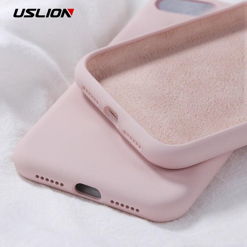 USLION Silicone Solide Couleur étui pour iphone XS MAX XR X Bonbons Couleur Téléphone étuis pour iphone 7 6 6S 8 Plus Souple coque en polyuréthane thermoplastique Couverture