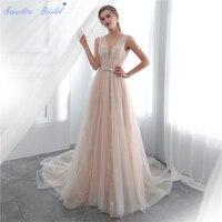 Sapphire Bridal 2019 Illusion Beach Bridal Dress Vestido De Noiva Sexy Backless Champagne Long Train Tulle Wedding Dress