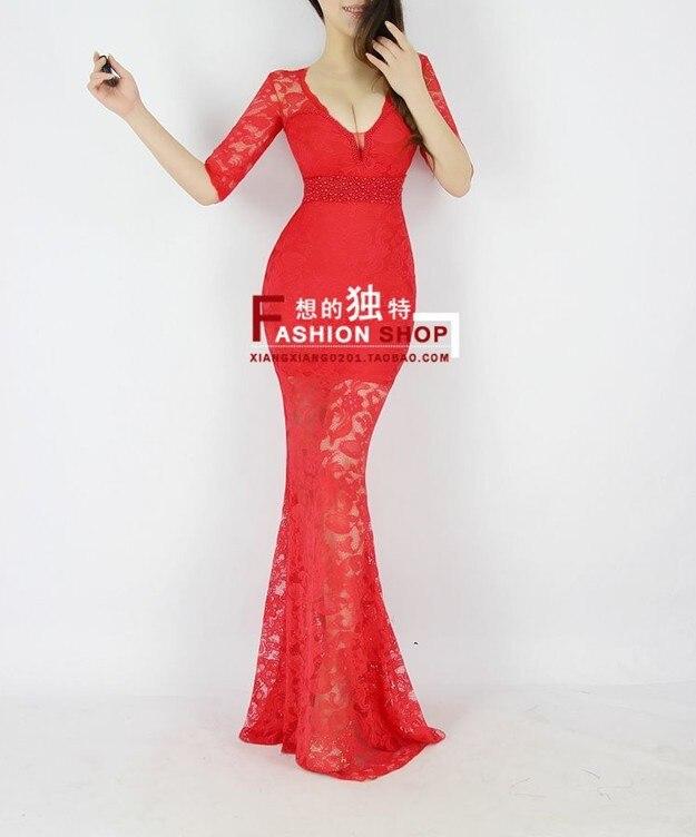 Распродажа; кружевное платье с v-образным вырезом и коротким рукавом; vestido de festa robe de soiree; вечерние платья; Abendkleider; H0559 - Цвет: Red