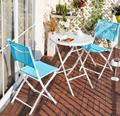 Lanskaya Leisure Foldable Outdoor Tables And Chairs Balcony Table Patio Furniture Iron Garden Folding Picnic  Balcony Set