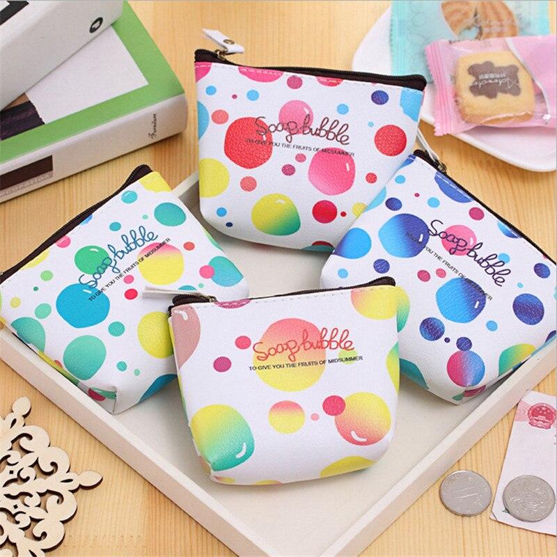 Cute Graffiti Bubbles Kids Coin Purse Change Purse Card Holder Handmade Hem Wallet Purse Women Clutch Zipper Coin Bag Pouch