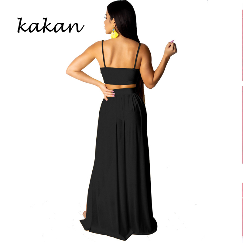 Kakan 2019 summer new women 39 s dress two piece high split sexy chiffon harness dress yellow black dress in Dresses from Women 39 s Clothing