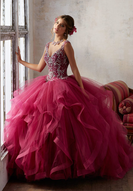 2017 Burgundy Quinceanera Dress Puffy Tulle Ball Gowns Crystal ...