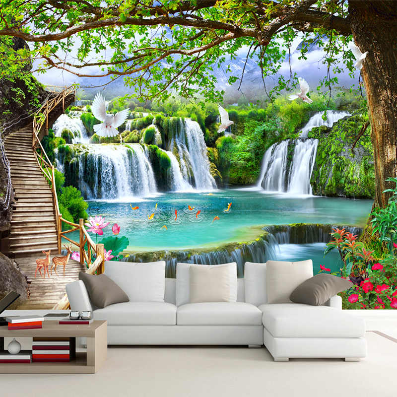 Custom Any Size Green Forest Waterfall Nature Landscape 3D Mural Wallpaper Living Room Bedroom Photo Wall Paper Papel De Parede